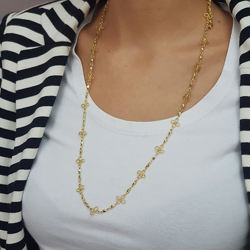 Long and Dainty Elegant Decorated Gold Chain Necklace