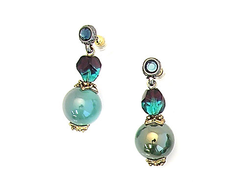 turquoise pearls and crystal earrings