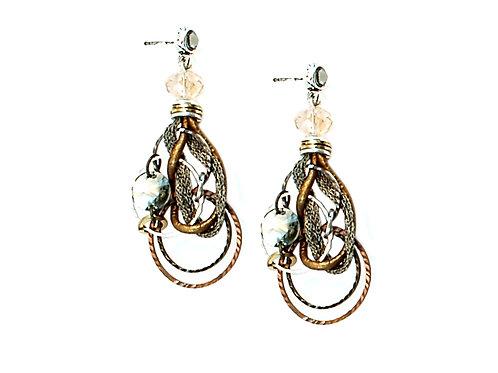 metal and crystals earrings