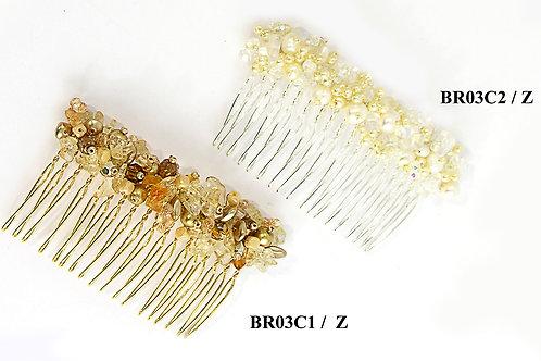 Natural stones, pearls and crystals. Bridal Hair piece