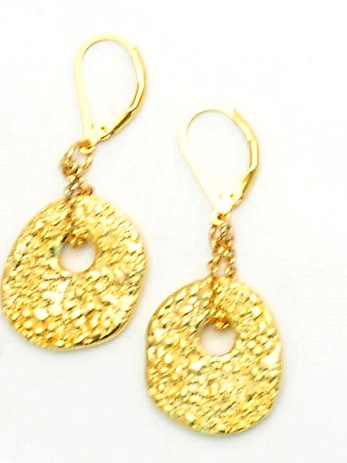Round gold metal textured earrings