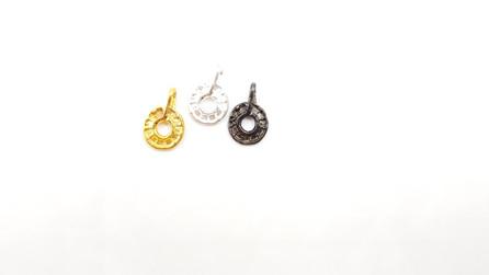 318- אלמנטים מתכת עגול מרוקע מעוצבת בציפוי: כסף שחור וזהב 3 יח'