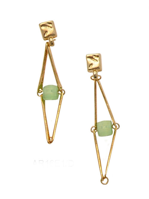 gold metal bars and czech beads earrings