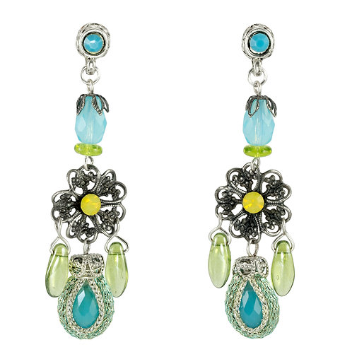 Blue and Turquoise flower earrings