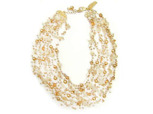 Glass pearls, crystals, stones and beads Bridal Necklace