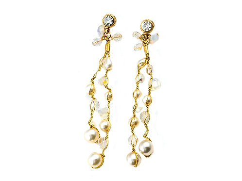 crochet Glass pearls and crystals Earrings