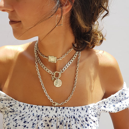 Set of Two Layering Chunky Chain Necklaces