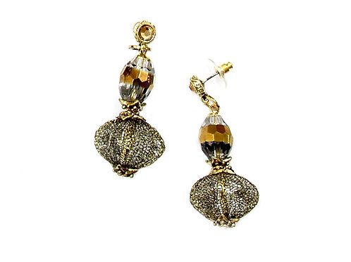 crystal beads and bronze mesh earrings
