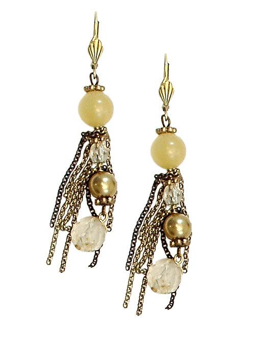 Tassel & glass pearls Earrings