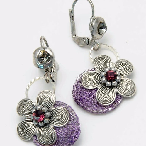 flower and silver earrings