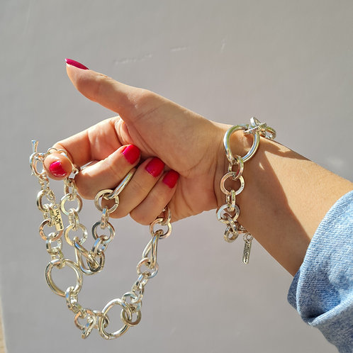 Chunky Silver Chain Necklace and Bracelet Set