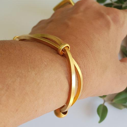 Metal Cuff Bracelet, Geometric Uniqe Design