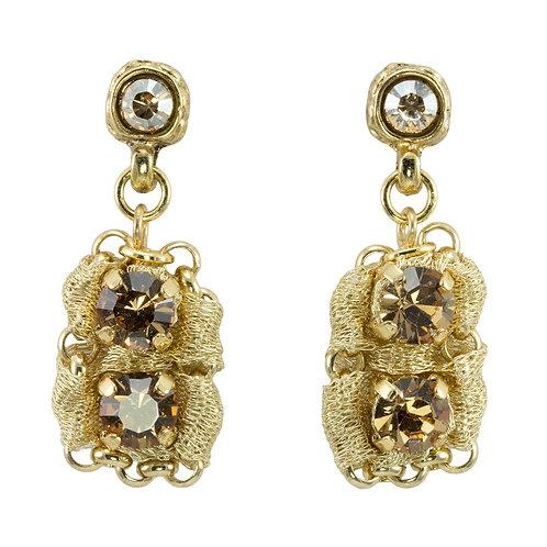 Gold Swarovski Crystals Earrings