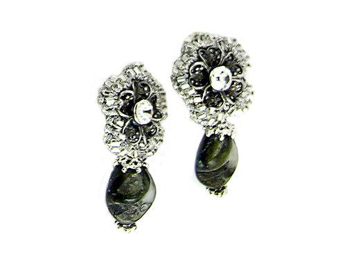 Silver Metal Flower Earrings