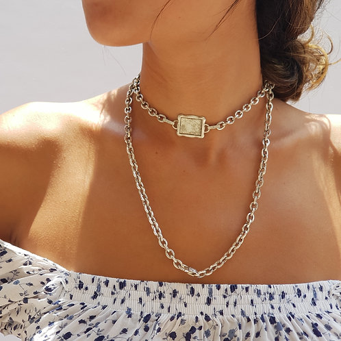 Silver Chunky Chain Necklace, ID Tag Choker, Rock Style Necklace