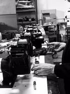 Chief Engineer, Phil, assembling pump heads