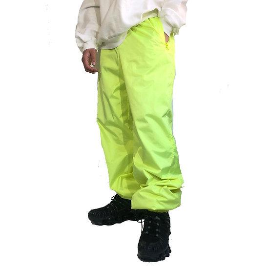 old white stag ski pants / neon yellow