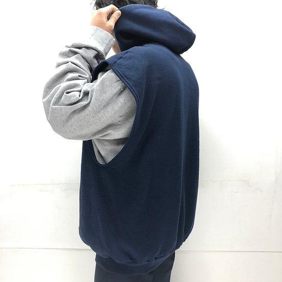 old russel hoodie sweat vest / NAVY