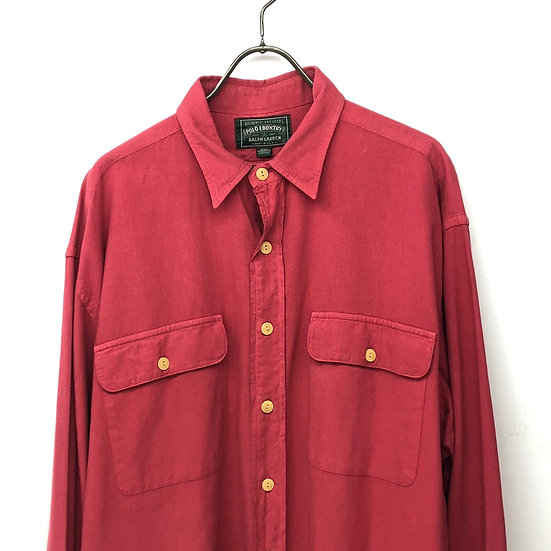 Polo country plain L/S shirt / RED