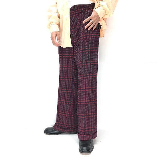old plaid flare slacks / W.RED