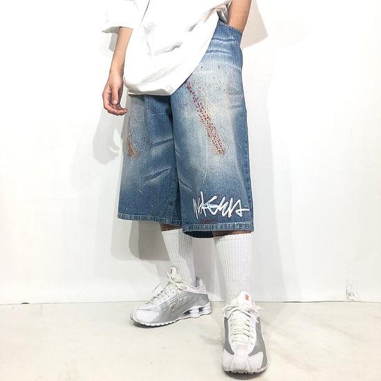 design denim short pants / ice blue