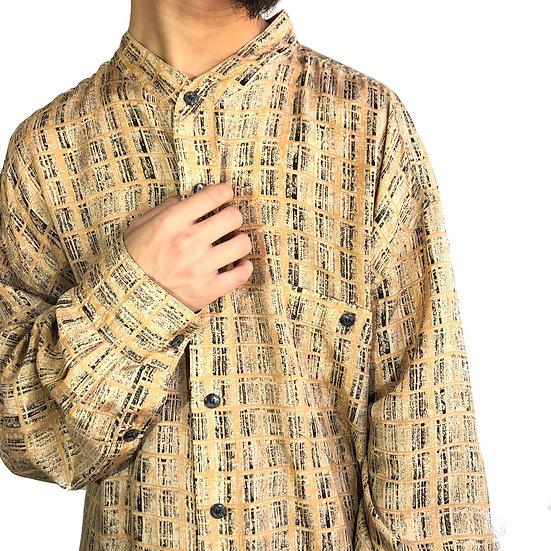 stand collar 総柄 silk shirt / BEI