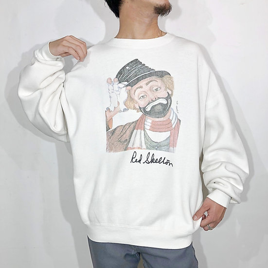 old pierrot design sweat / WHT