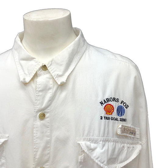 clumbia fishing shirt / WHT