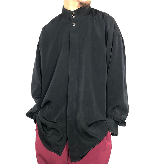 stand collar design shirt / BLK