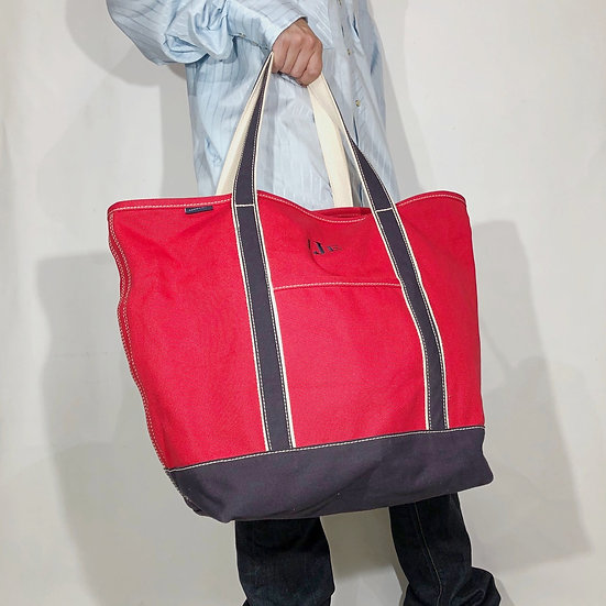 LANDS'END canvas tote bag / RED