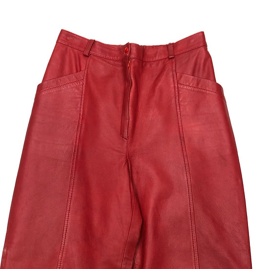 leather design pants / RED