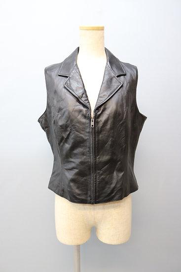 design leather vest / black