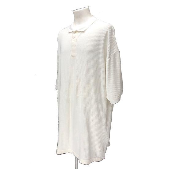 summer rib knit polo shirt / WHT
