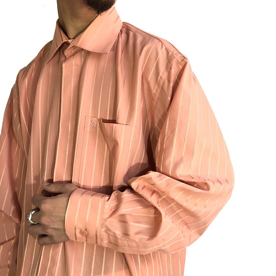 stacy adams stripe shirt / salmon pink