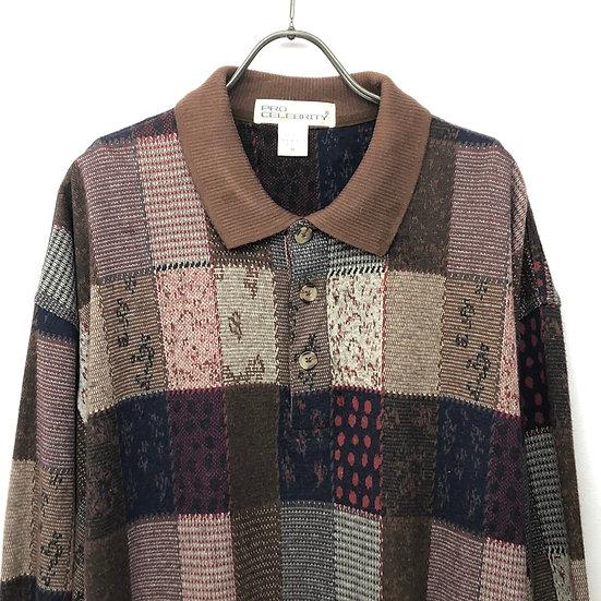 patchwork desgin polo shirt / multi