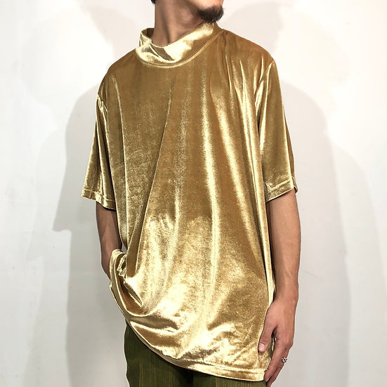 mock neck velours cut&sew / gold