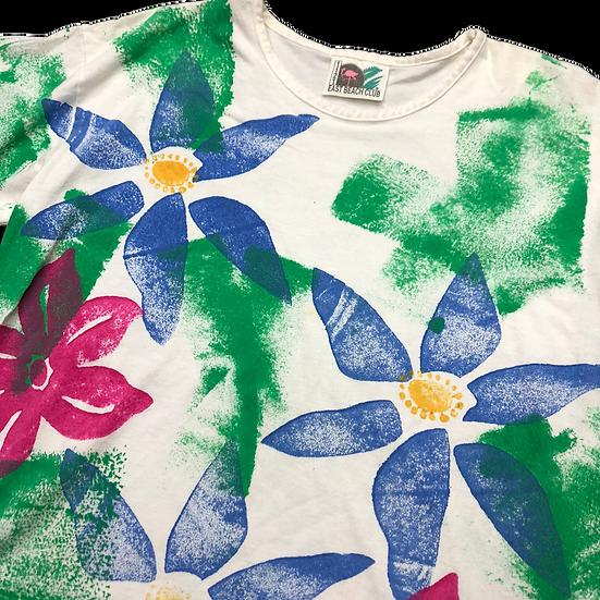 old pop flower T-shirt / WHT multi