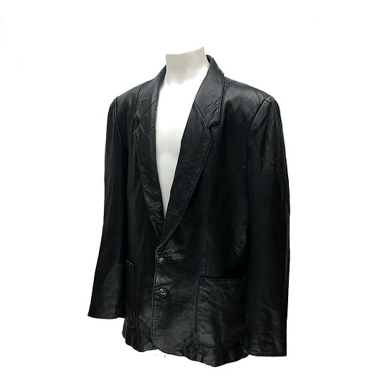 old north beach leather tailored jacket / BLK