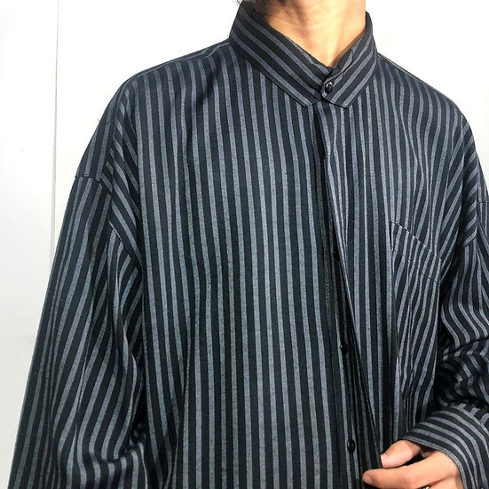 stand collar design stripe shirt / BLK
