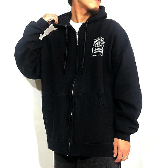 JACK DENIEL'S design zip-up sweat parka / black