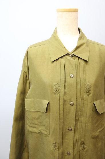 silk design shirt / KHAKI