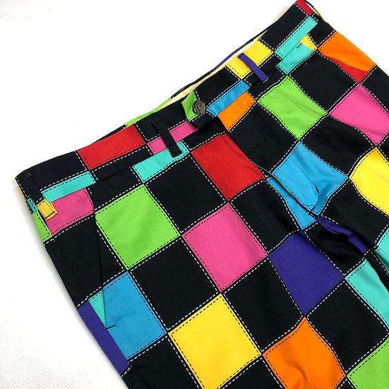 multi plaid wide slacks / multi