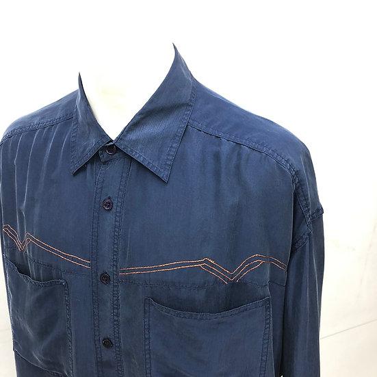 silk stitching shirt / NAVY