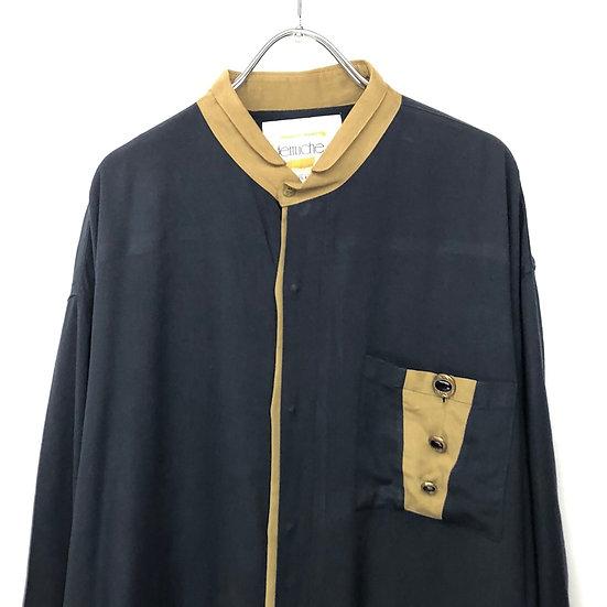 stand collar design shirt / BLK
