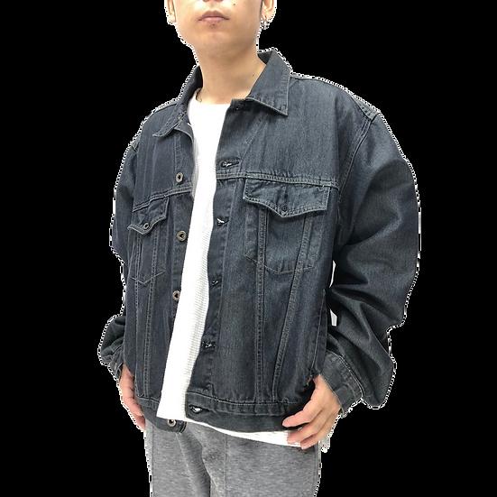 denim tracker jacket / BLK METAL