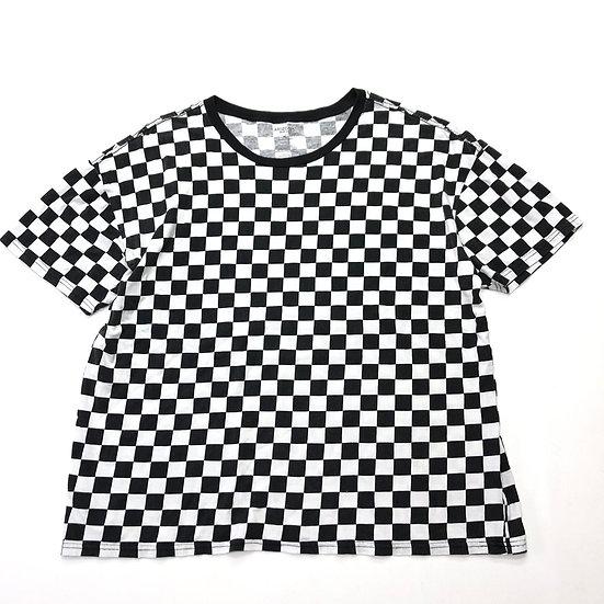 checker flag T-shirt / BLK WHT