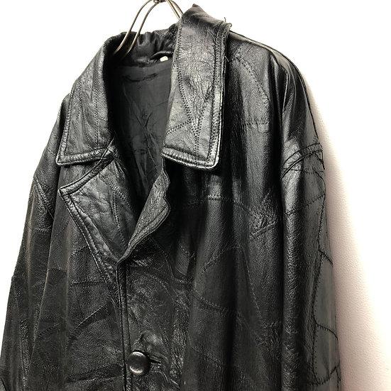 leather patchwork coat / BLK