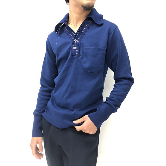 old knit polo shirt / NAVY