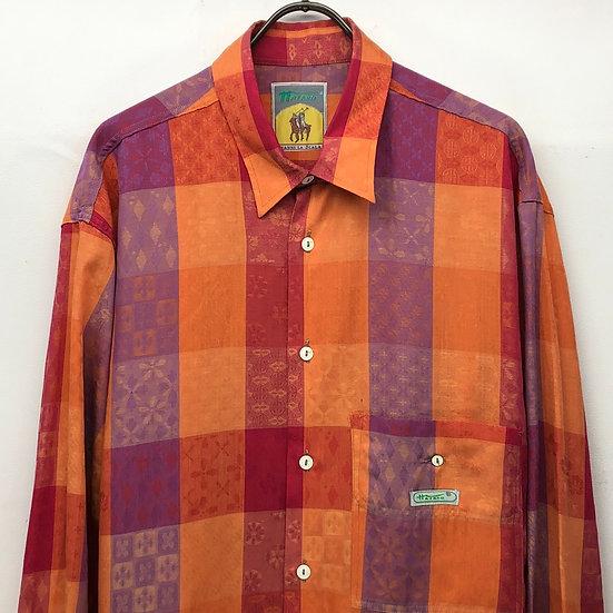oriental design shirt / plaid