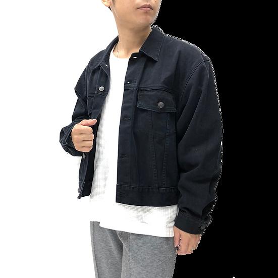 denim tracker jacket / BLK